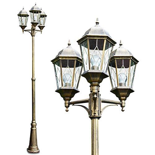 Kandelaber 3-flammig Hongkong Aluguss Braun-Gold - Sockellampe Klarglas-Scheiben Waben-Muster - 270cm Höhe (einstellbar) - Wegeleuchte im Vintage-Design - Alu Leuchte mit 3x E27-Fassung