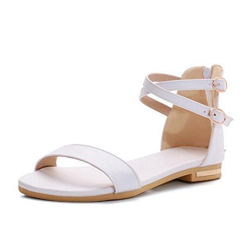 Voguezone009 donna cerniera punta aperta tacco basso luccichio puro sandali, bianco, 40