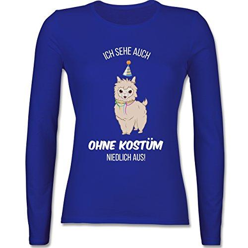 & Fasching - Ich Sehe Auch Ohne Kostüm Niedlich aus Lama - XS - Royalblau - BCTW013 - Damen Langarmshirt (Super Günstige Damen Kostüme)