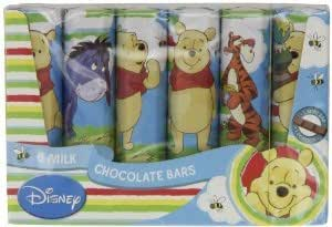 Six Milk Chocolate Bars With Winnie The Pooh and Friends