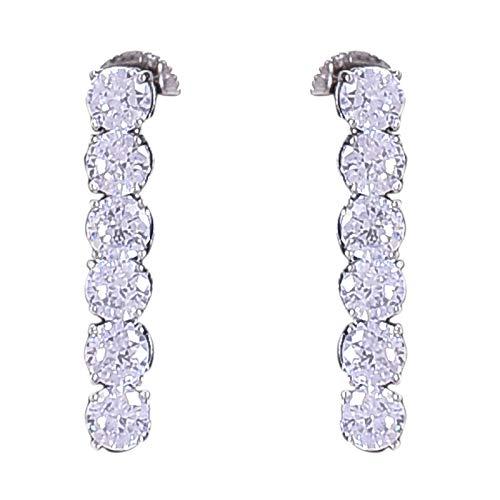 Ratnavali Jewels American Diamond Platinum Plated White Single Line Solitaire Tennis Necklace for Women