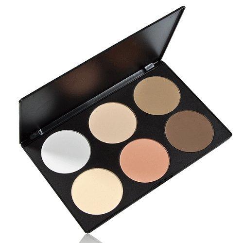 FACILLA® Palette Poudre Compact Pressé Fond de Teint 6 Teintes Décoration Maquillage