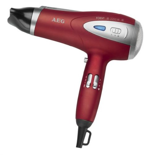 Ionen Haartrockner mit Diffuser und Formdüse Fön Haarfön Haar Föhn Haarföhn Harfön (leistungsstarke 2200 Watt + rot/metalic)