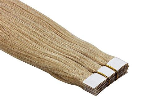 """Echthaar Tape On / In Extensions Haarverlängerung 50cm 10 Tressen """"Senses"""" mit dem extra starken WEISSEN TAPE (613 - lichtblond)"""