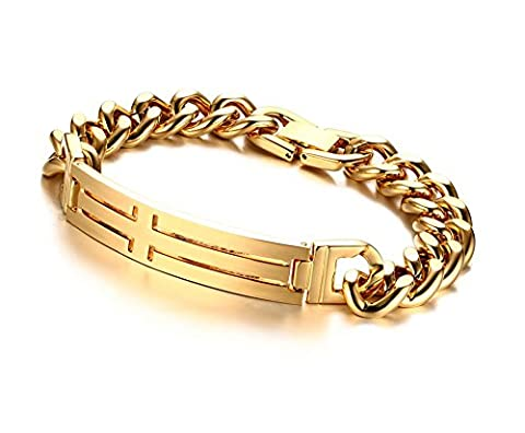 Vnox Men's Stainless Steel Gold Plated Cuban Chain Christ Cross ID Link Bracelet for Baptism