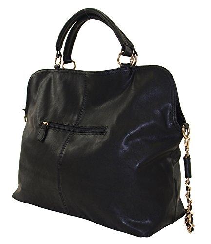 MAHEL-Collection Damen Kunstleder Handtasche Damentasche Shopper Bag Lederoptik 8150-1 (Blau) Schwarz