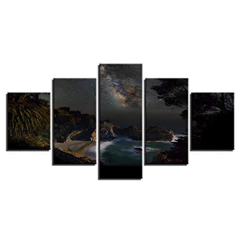 WLHAL Lienzo modular Fotos Arte de la pared 5 Piezas Isla y Playa Hermosa Estrella Cielo Vista de la Noche Pinturas Cartel Impresión de HD Decoración Hogar