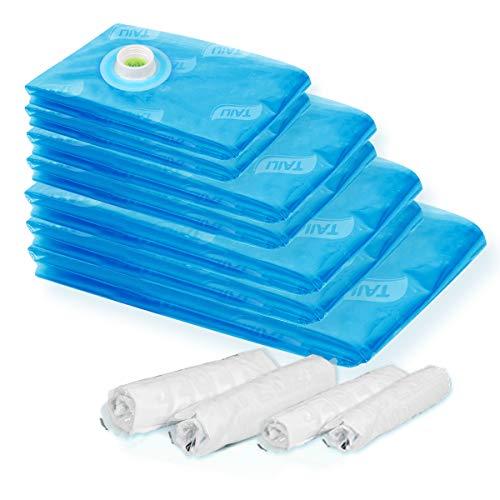 11 Stück Bettwäsche (TAILI Vakuumbeutel 11 Stück Vakuumbeutel Aufbewahrungsbeutel platzsparend (1XXL + 2XL +2L +2M) mit Roll-up komprimierte Tasche für zuhause und unterwegs für Bettwäsche, Decke, Kleidung)
