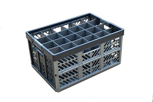 Verre à vin Boîte de rangement – Caisse pliante avec séparateurs internes – 24 cellules, jusqu'à 50 kg/45L Boîte de Verrerie pour verres à vin – Hauteur maximale en verre = 245 mm – Largeur maximale de verre = 81 mm