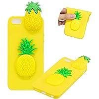 TPU Hülle für iPhone SE,Weich Silikon Hülle für iPhone 5S,Moiky Komisch 3D Ananas Entwurf Ultra Dünnen Scratch Resistant Soft Rückseite Abdeckung Handyhülle