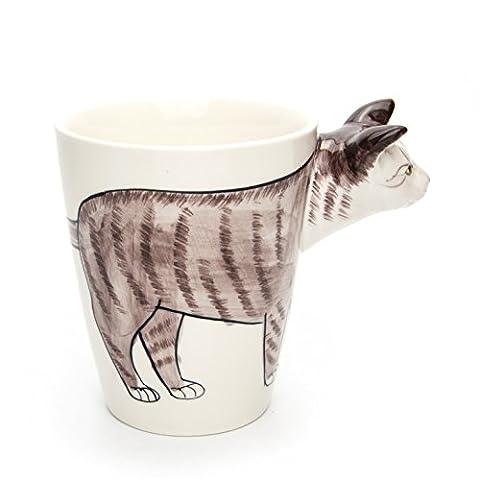 Hausmann & Söhne Tasse groß, weiß, lustig mit Tier Motiv in 3D Katze | 350ml (400ml randvoll) | Kaffeetasse/Teetasse aus Keramik (Porzellan) | die perfekte Geschenk-Idee