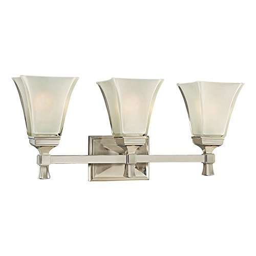 Hudson Valley Lighting Kirkland 3-Light Vanity Light - Satin Nickel Finish with Clear/Frosted Glass Shade by Hudson Valley Lighting