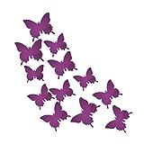 Spiegel 3D Schmetterling Wand Aufkleber Party Hochzeit Decor DIY Home Dekorationen Violett
