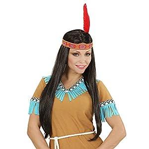 WIDMANN 06767 - peluca negro indio con diadema de plumas