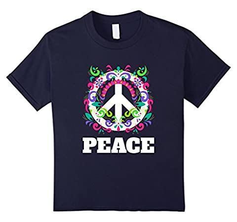 Kids Peace Sign T-Shirt - Peace Symbol Flowers Hippie Tee