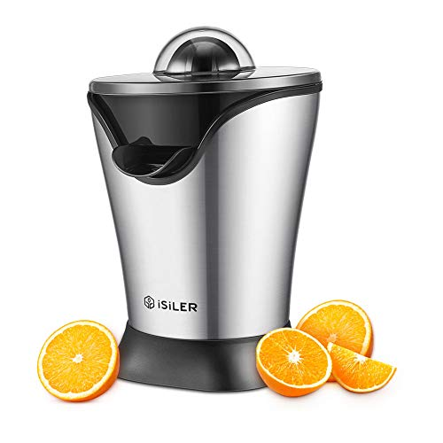 ISILER Zitruspresse, 100W Saftpresse, 5 Minuten für ein 350 ml Glas Saft, Citruspresse mit Staubschutzhaube und Stahlgehäuse, Entsafter für Zitrusfrüchte wie Orangen, Grapefruit leise & leistungsstark