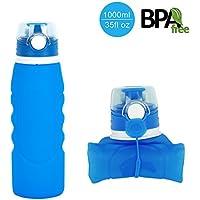 Botella de agua plegable de HoShip (1000 ml), botella plegable reutilizable de silicona, a prueba de fugas, para deportes, botella para beber que se enrolla para senderismo, acampadas, running, yoga, gimnasio o exteriores., azul