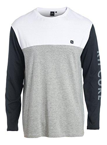 Rip Curl Herren Blocked Ls Tee Langärmeliges T-Shirt Beton marle grau/Weiß/Schwarz