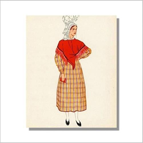 DOLOJO Digitale Malerei Ethnischen Kostüm Wohnzimmer Schlafzimmer DIY Dekoration 50X60 cm A (Moderne Ethnischen Kostüm)