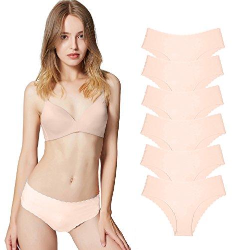 Misolin Damen Slips Nahtlos Unterwäsche Bikinis Taillenslips Seamless Unsichtbare Dehnbare Bequeme Panties Hipsters 6 Pack Beige XS (Baumwolle Damen-unterwäsche)