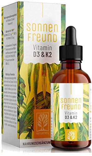 Vitamin D3 K2 Tropfen hochdosiert - 100{118f5258dfa7f7b2c7206bb0162a056046ff80eda2d8f45c414191cffa0be626} Vegan - Vitamin D aus pflanzlichen Flechten (ohne tierisches Lanolin) 1.000 IE + Vitamin K2 All Trans MK7. Geprüft und hergestellt in Deutschland