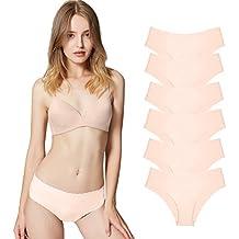 Bragas Pantalones de Mujer sin Costuras Señoras Ropa Interior Sexy Low Rise Bikini Bragas, Pack