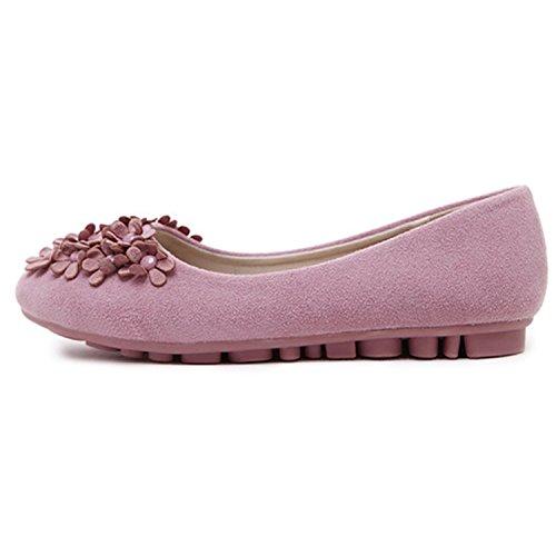 Oasap Women's Round Toe Flat Heels Floral Shoes Black