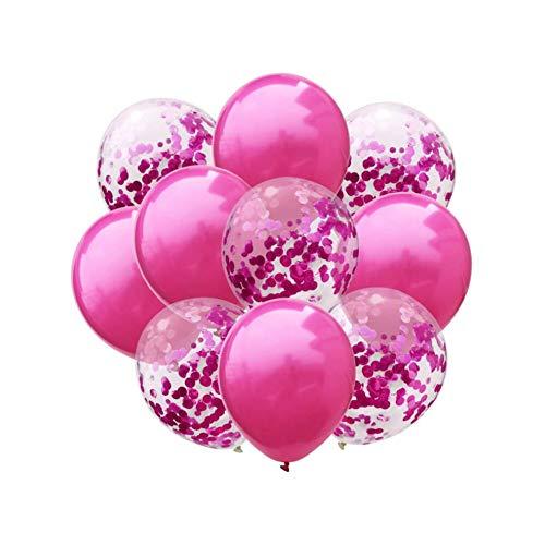 Oblique Unique® Konfetti Luftballon Set für Hochzeit JGA Geburtstag Feier Jubiläum Baby Shower Party Deko Ballons Pink