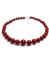 Schmuckwilly Perlenkette Damen Muschelkernperlenkette Hochwertige Perlen Collier Halskette Modeschmuck aus echter Muschel Rot 6mm-16mm mk16mm066z