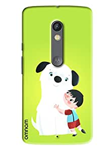 Omnam boy love with dog back cover for Motorola Moto X Play