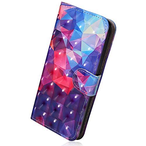 Hülle Kompatibel mit iPhone 6S Plus 5.5 Lederhülle Flip Hülle Luxus Glitzer Bling 3D Bunt Muster Leder Klapphülle Ledertasche Bookstyle Cover Schutzhülle Handyhülle Leder Tasche,Diamant