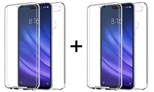 """TBOC 2X Funda para Xiaomi Mi 8 Lite - Mi8 Lite [6.26""""] - [Pack: Dos Unidades] Carcasa [Transparente] Completa [Silicona TPU] Doble Cara [360 Grados] Protección Integral Total Delantera Trasera Lateral"""