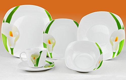 Van Well - Servizio da tavola combinato, Calla, 124 pezzi (12 persone), in porcellana, a forma quadrata, con motivo floreale, colore: Bianco