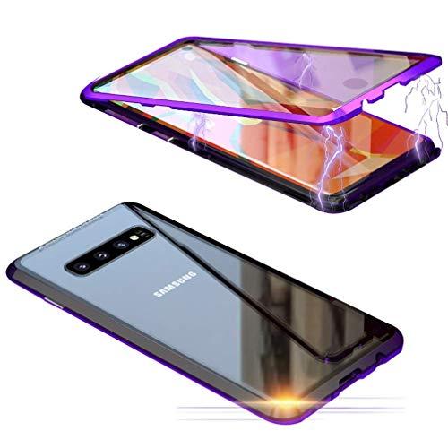 ColiColi Durchsichtig Panzerglas Hülle für Samsung Galaxy S10 Plus/S10+, 360 Grad Magnetic Handyhülle Doppelseitige Gehärtetes Glas Schutzhülle Dünn Magnetische Adsorption Kratzfest Bumper, Lila - Rahmen Plus Zubehör