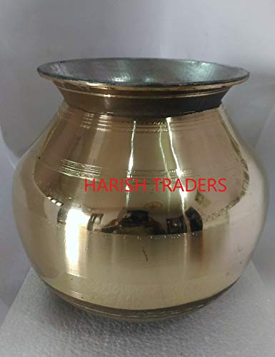 HARISH-Traditional-Hand-Crafted-TAMILNADU-Pure-Brass-Vessel-Inner-Lined-with-TINEIIYAM-Tamil-Nadu-Special-pitthalai-Panai-PONGAL-PANAI-28-to-3-Litre-Strong-Weight-11-to-12-KG