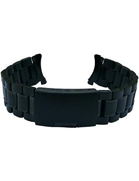 18mm Schwarz Massives Edelstahl Uhren-Armband Gebogen Ende