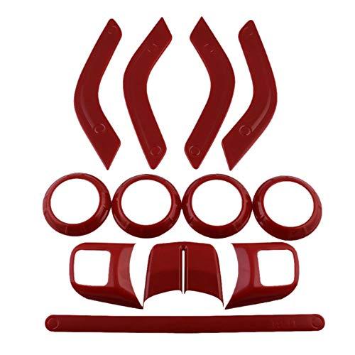 SODIAL 12 Teiliges Innen Ausstattungs Set Lenk Rad Mittel Konsole Luft Auslassverkleidung Tür Griff Abdeckung Für Jeep Wrangler Jk Jku 2011-2018 4 Türen -