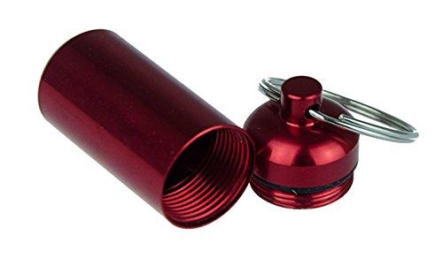 Pille Medikament Box (Schlüsselanhänger mit Behälter als Pillendose in Rot (in 5 verschiedenen Farben erhältlich), Tablettendose Kapsel Medikamente Pill Pillen Box Aufbewahrung wasserdicht, von Kobert Goods)