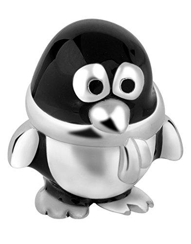 (Nenalina Pinguin Silber Bead mit Emaillie schwarz in 925 Sterling Silber, auch kompatibel für Pandora Beads Armbänder, 717513-001)