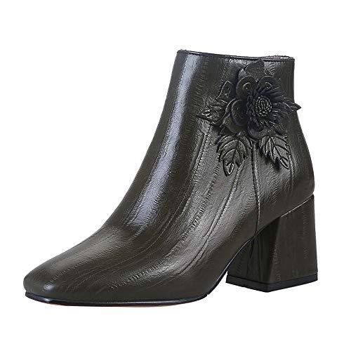 Damen Retro Freizeitschuhe,High Heels Party Boots Klassisch Stiefeletten -