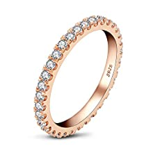 AINUOSHI 18K Rose Gold Plated Sterling Silver Cubic Zirconia Simulated Diamond Anniversary Stackable Ring Eternity Band for Women T 1/2