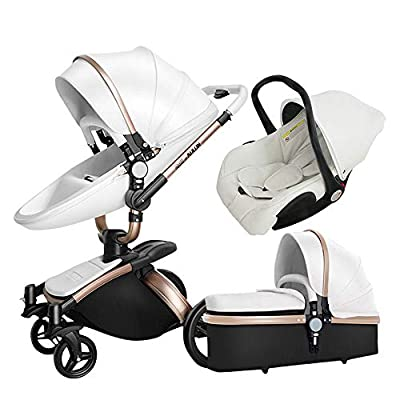 Luxury Baby Stroller 3 in 1 with Separate carrycot Black Frame 360 Degrees Rotation High Baby Carriage Landscape Stroller for Newborn