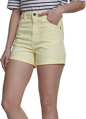 Urban Classics Damen Ladies Highwaist Stretch Twill Shorts, Gelb (Powderyellow 01323), 42 (Herstellergröße: 30) - Twill Womens Cargo Pocket Hosen
