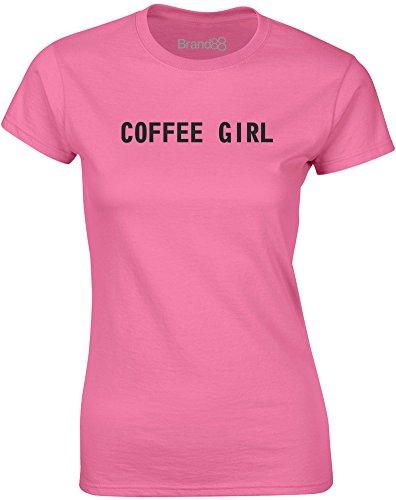 Brand88 - Coffee Girl, Mesdames T-shirt imprimé Azalée/Noir