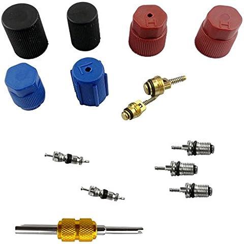 Casquillo de AC Sistema + Kit de Válvula de Servicio + Schrader Removedor de Base Llave para Aire Acondicionado