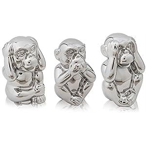 CHICCIE Die DREI Weisen Affen - Silber Keramik 14cm - Nichts sehen hören Sagen Glücksbringer Skulptur Figuren