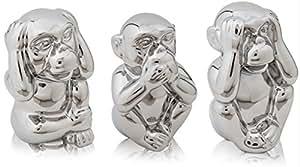 Chiccie die drei weisen affen silber keramik 14cm nichts sehen h ren sagen gl cksbringer - Drei affen deko ...