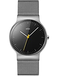 Braun Unisex-Armbanduhr BRAUN CLASSIC SLIM WATCH Analog Quarz Edelstahl BN0211BKSLMHG