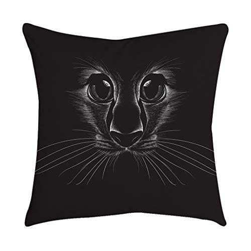 at Face mit schwarzen Augen Baumwolle Leinen Platz Kissenbezug Home Sofa Sessel Schlafzimmer dekorativ ()