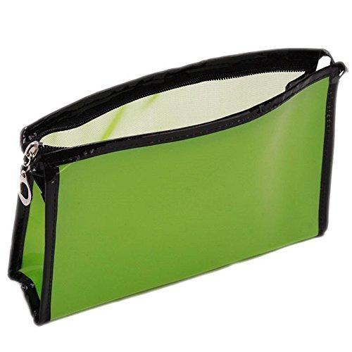 Transparent Sac Rangement Toilettes Trousse Maquillage Cosmétique PU cui Chic (Vert)